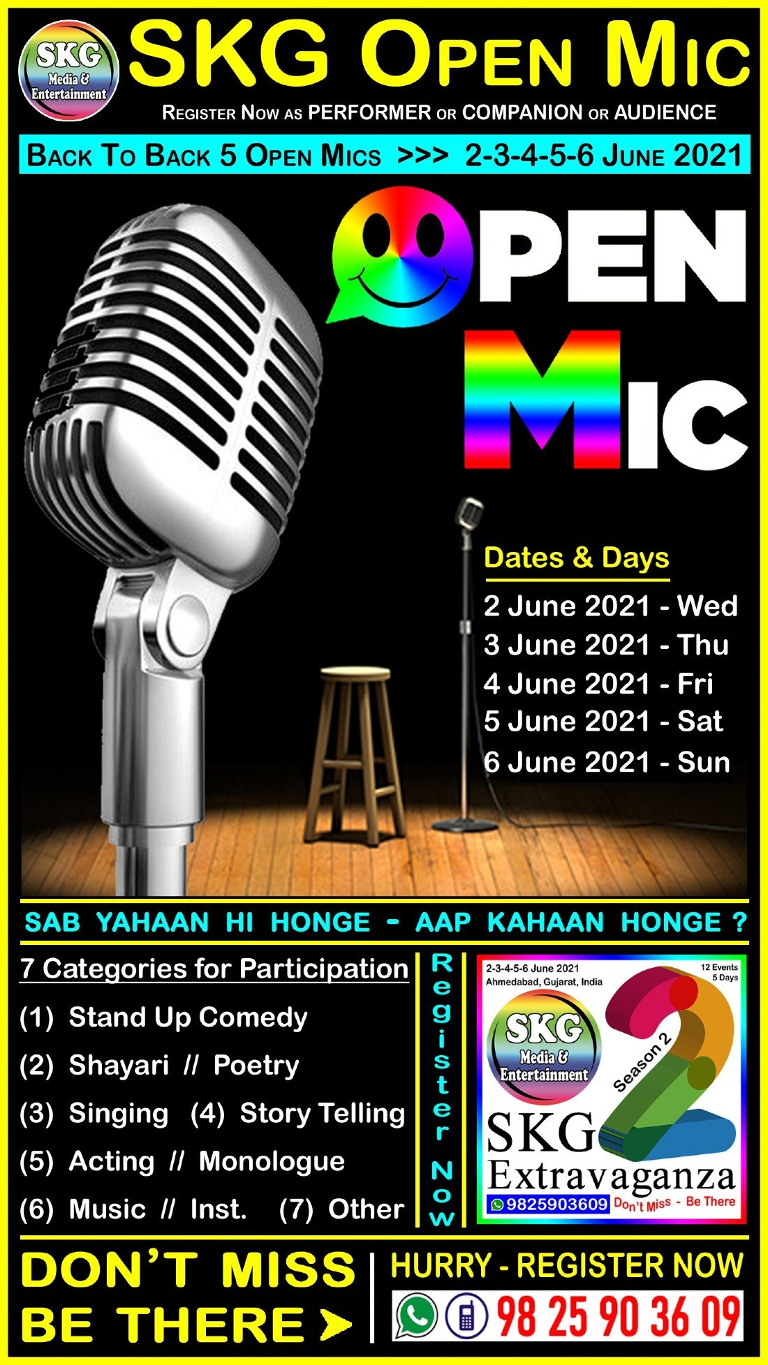 SKG Open Mic - Back to Back 5 Open Mics (( Event No 4 of 12 - SKG Extravaganza Season 2 )), 2 June | AllEvents.in