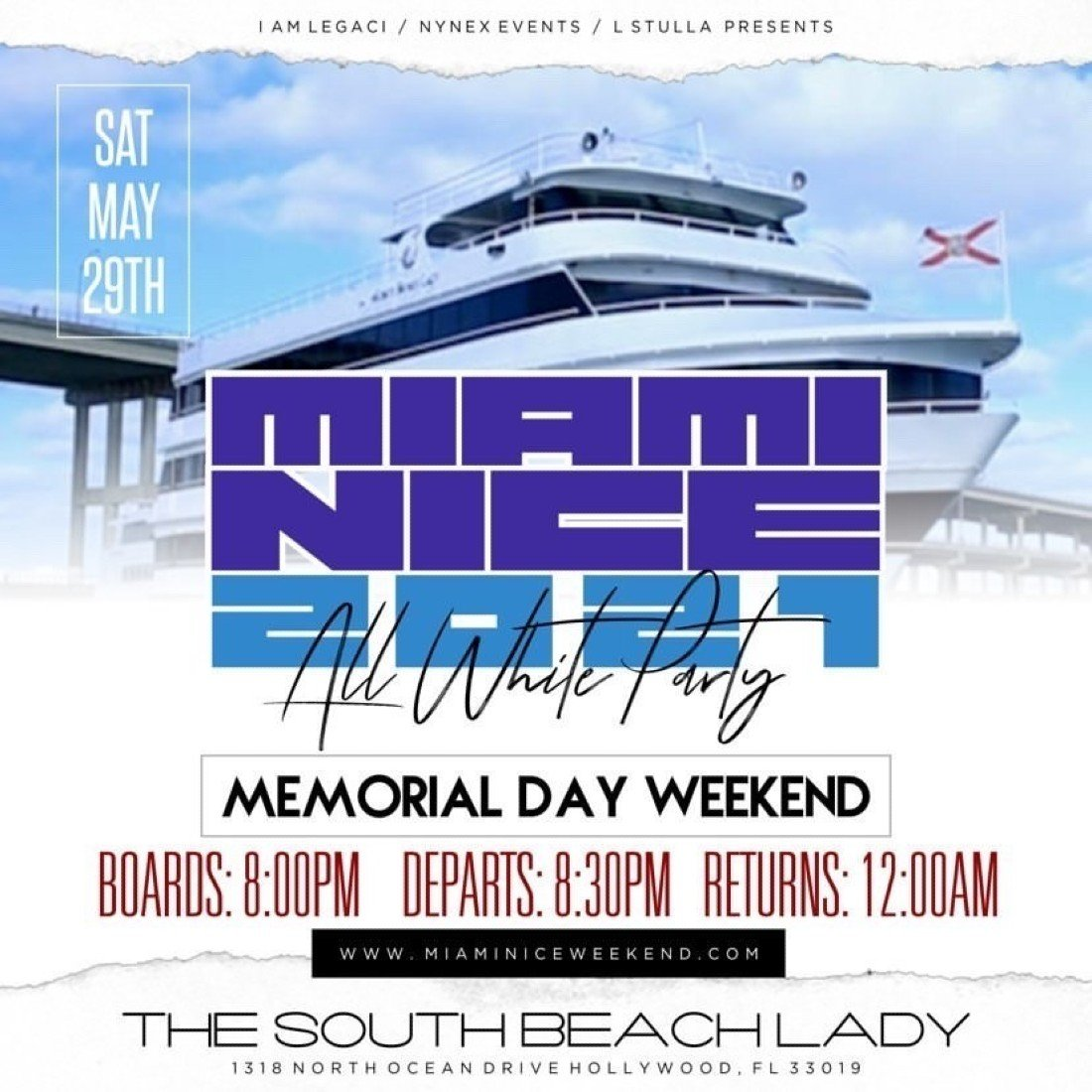 MIAMI NICE 2021 MEMORIAL DAY WEEKEND ANNUAL ALL WHITE YACHT PARTY, 29 May | Event in Hollywood | AllEvents.in
