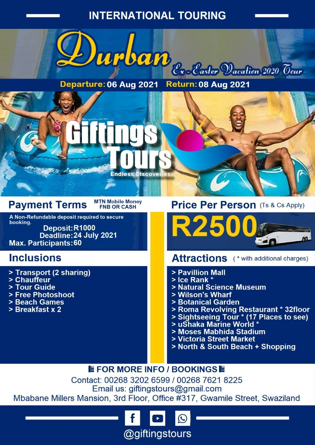 Ex Durban Easter Vacation 2020 Tour  , 6 August | Event in Westville | AllEvents.in