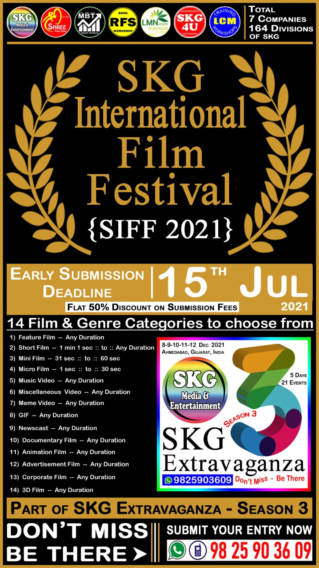 SIFF 2021 - SKG International Film Festival (( Event No 1 of 21 - SKG Extravaganza Season 3 )), 8 December