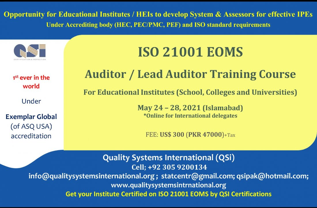 ISO 21001:2018 EOMS Auditor / Lead Auditor Course, 24 May | Event in Islamabad | AllEvents.in