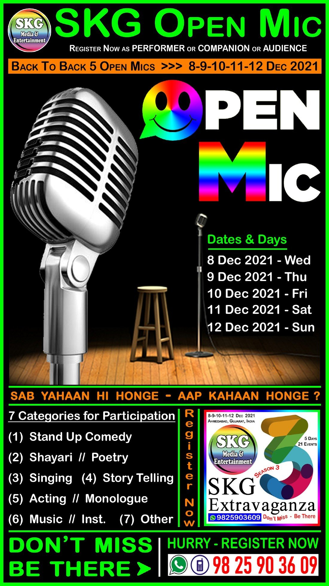 SKG Open Mic - Back to Back 5 Open Mics (( Event No 4 of 21 - SKG Extravaganza Season 3 )), 8 December | AllEvents.in