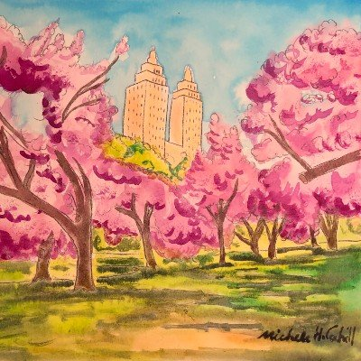 HOW TO WATERCOLOR - A Beautiful Landscape Cherry Blossoms