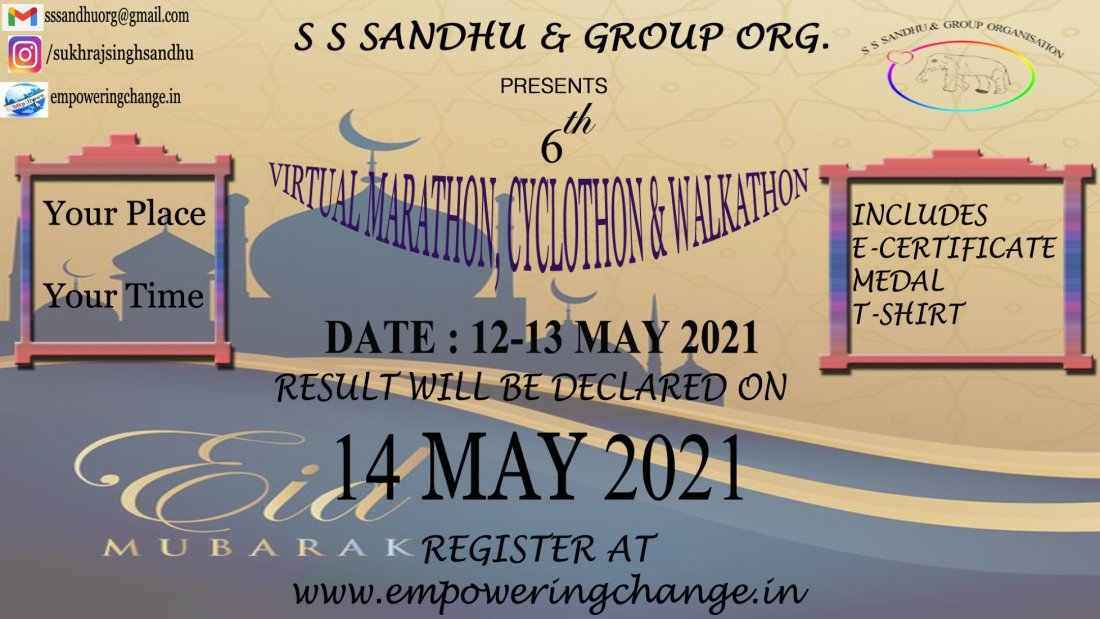 6th S S SANDHU AND GROUP ORGANISATION Virtual Marathon, Cyclothon and Walkathon , 12 May | Online Event | AllEvents.in