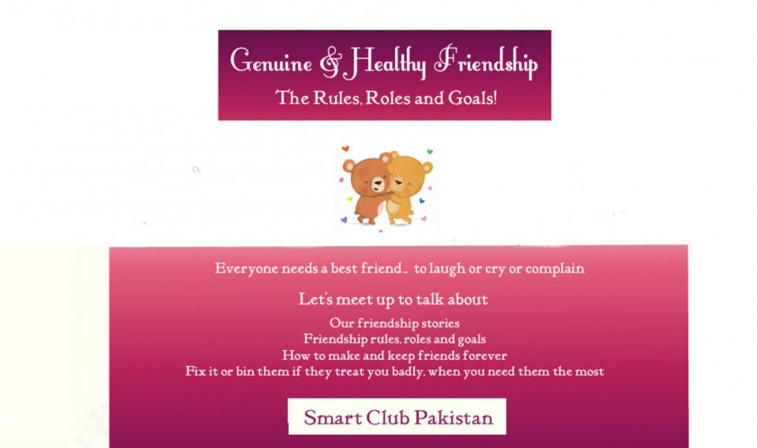 Friendship Rules, Roles,Goals and Guidelines for long lasting friendships, 11 July | Event in Islamabad | AllEvents.in