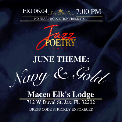 Jazz Poetry Cafe  Navy & Gold Edition