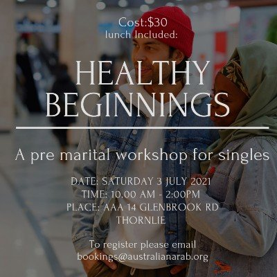Healthy beginnings - A pre marital workshop for singles