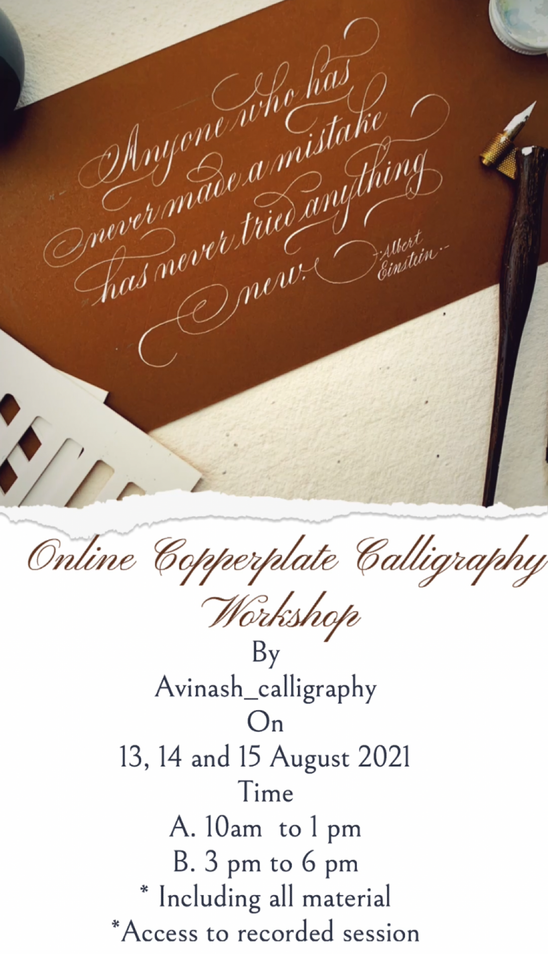 Online Copperplate Calligraphy Workshop , 13 August   Online Event   AllEvents.in