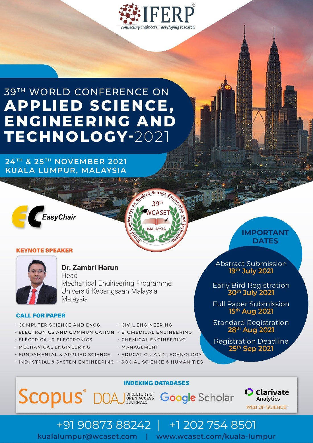 39th World Conference on Applied Science, Engineering & Technology, 24 November | Event in Kuala Lumpur