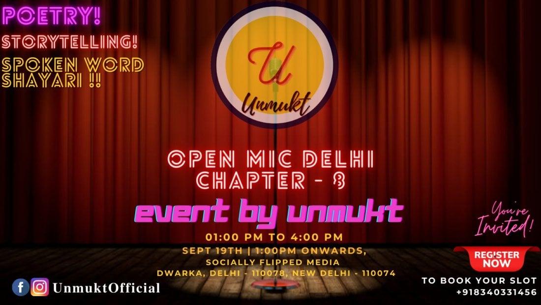 Unmukt Presents - Open Mic Delhi ( Chapter 8), 19 September | Event in New Delhi | AllEvents.in