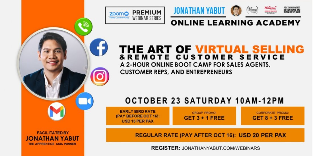 The Art of Virtual Selling and Remote Customer Service Boot Camp by Jonathan Yabut (USD), 23 October | AllEvents.in