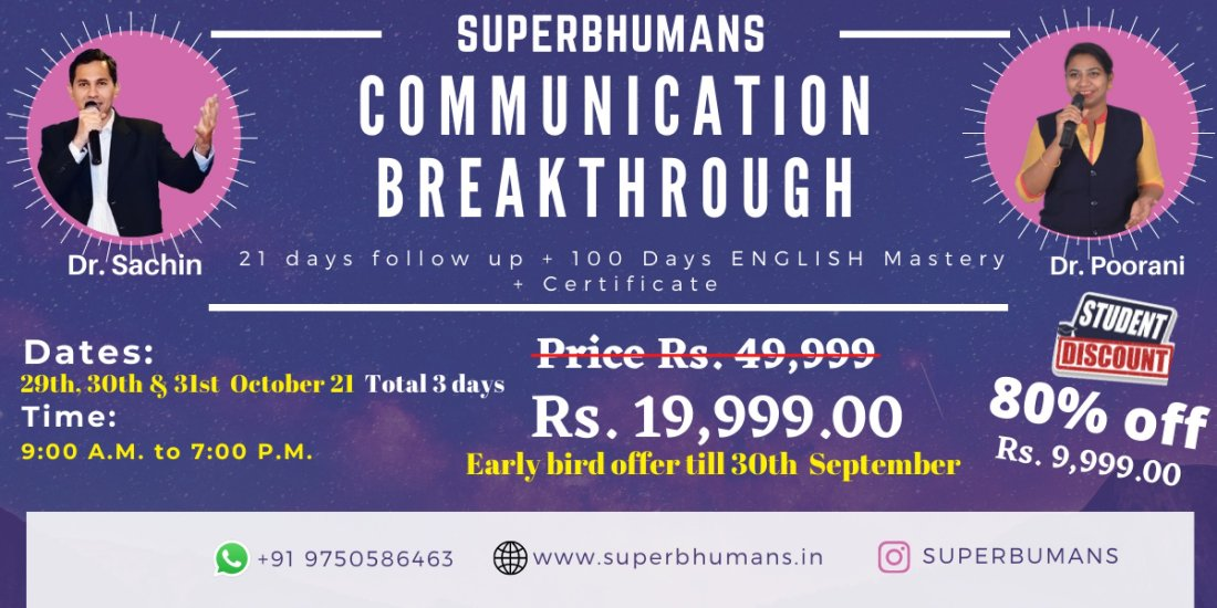 Communication Breakthrough - Speak with confidence + Master ENGLISH , 29 October | Event in Chennai | AllEvents.in