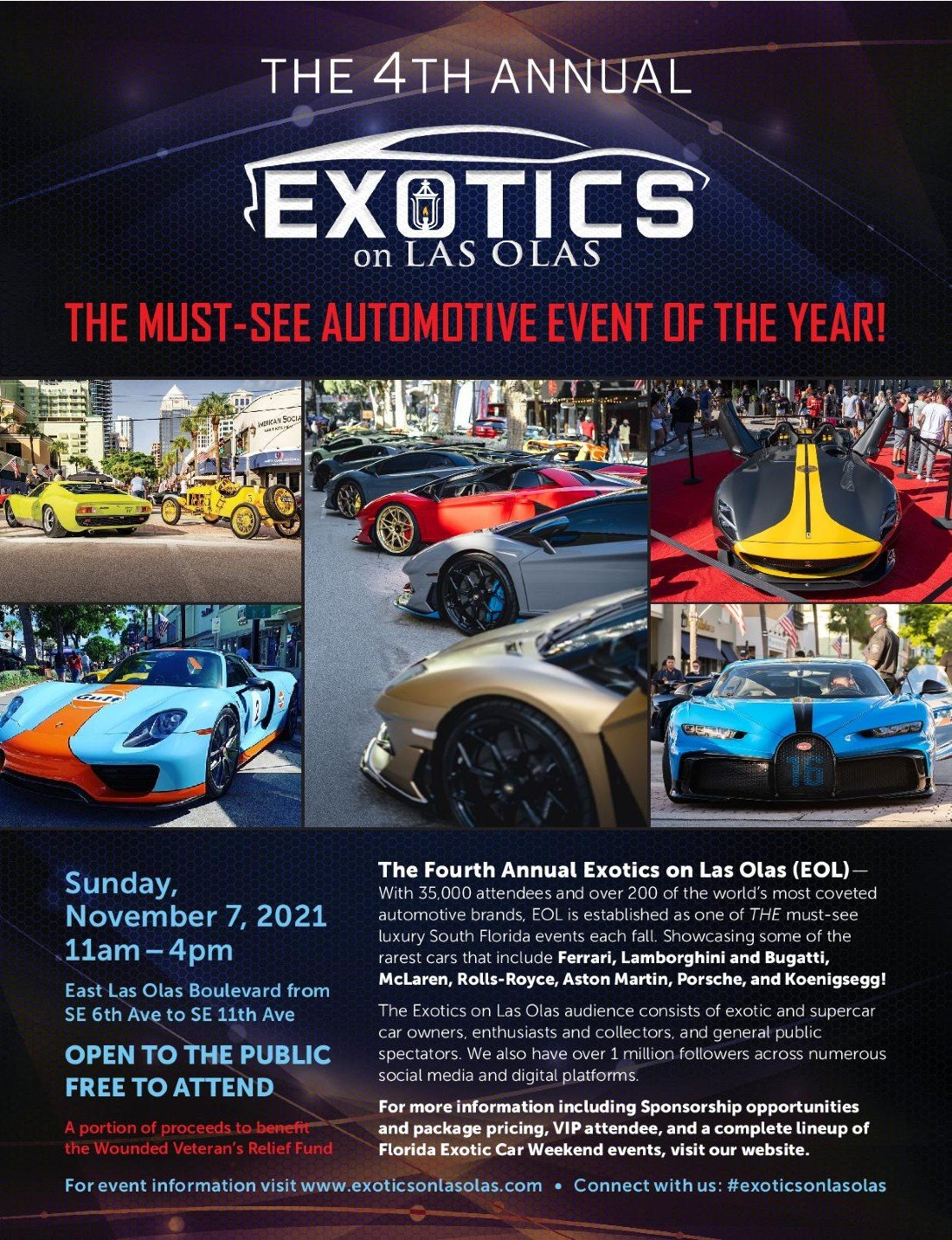 Exotics on Las Olas 4 Car Show Fort Lauderdale, 7 November | Event in Fort Lauderdale | AllEvents.in