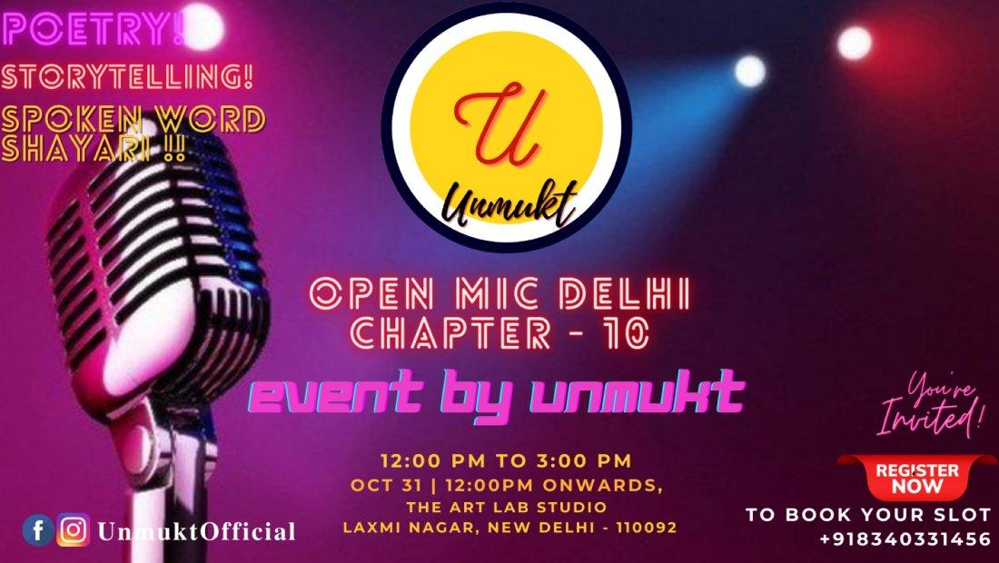 Unmukt Open Mic Delhi 10.0, 31 October | Event in New Delhi | AllEvents.in