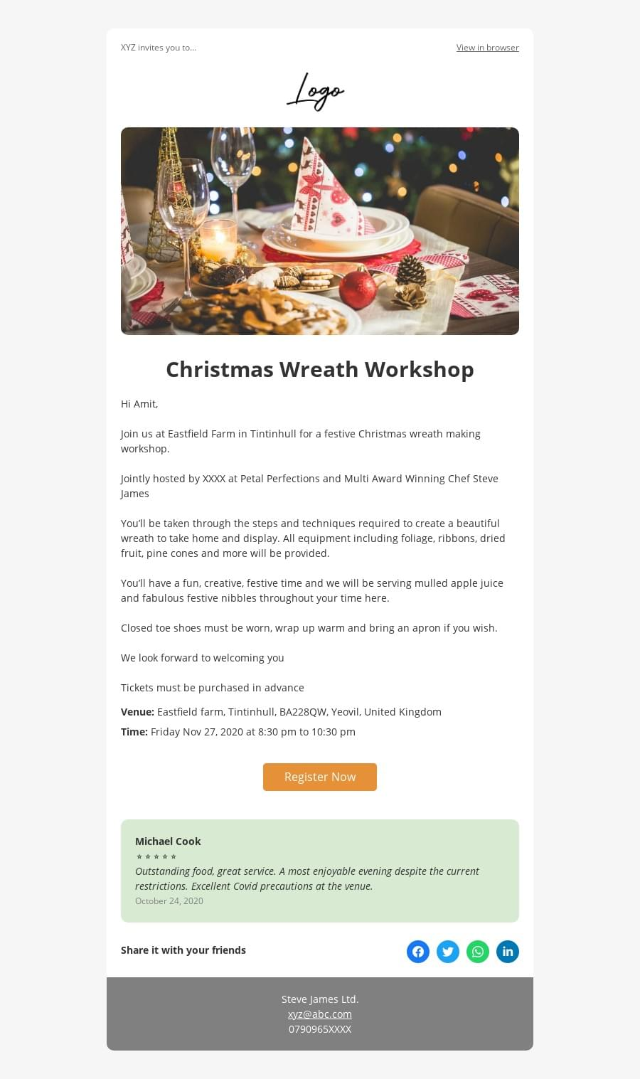 Workshop event invite template