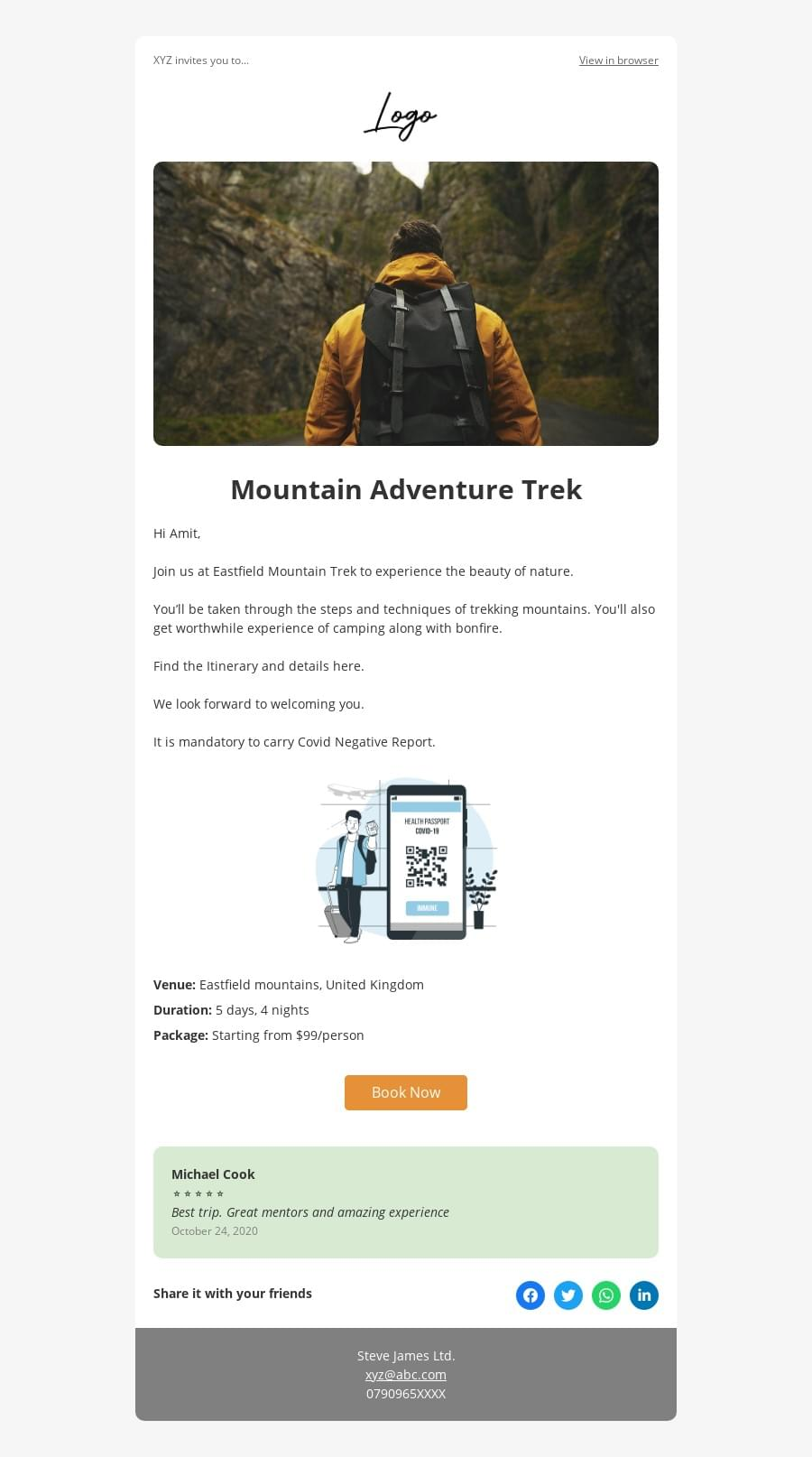 Trips and adventure event invite template