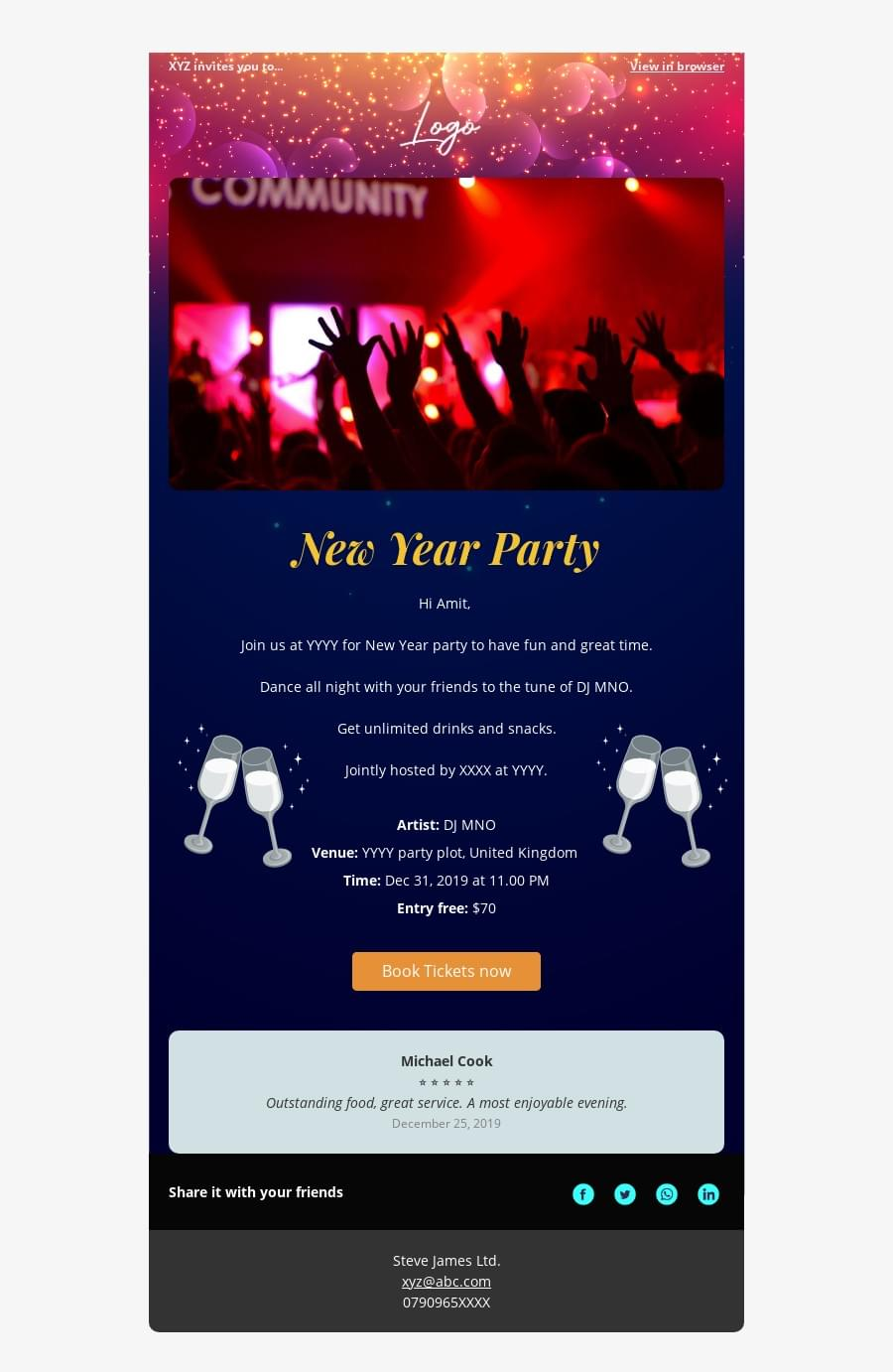 Party event invite template