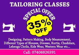 Special OFFER 35% OFF on Tailoring Classes